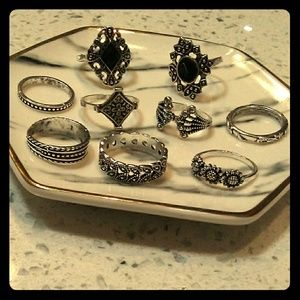 Set of 9 Victorian Rings